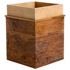 Calf Skin and Wormy Butternut Trash Can, ERIK GUSTAFSON