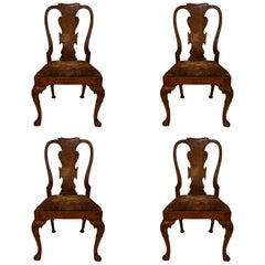 Set of Four 19th Century Antique Queen Anne Walnut Side Chairs