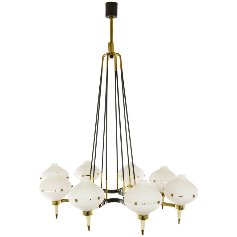 Chandelier by Stilnovo in metal, brass and glass, 1950s