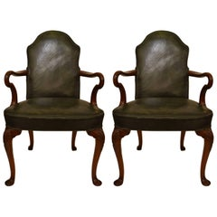 Pair of Antique Leather English Armchairs