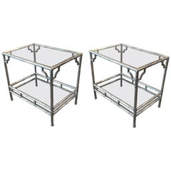 Pair of Cast Aluminum and Glass End Tables