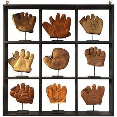 Rare Antique Miniature Children's Set of Nine Custom Framed Baseball Gloves Mitt