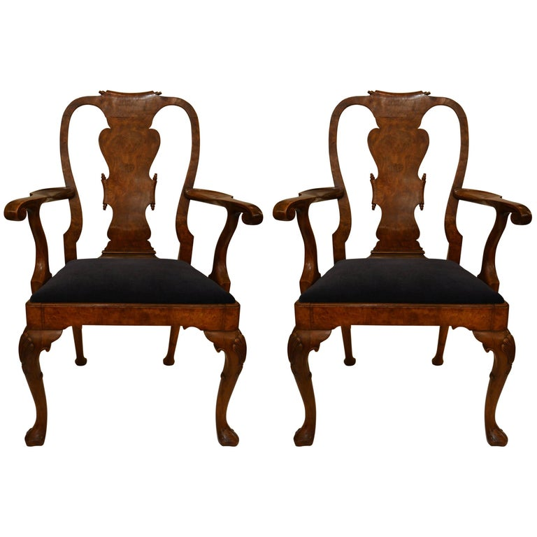 Pair of Antique Late 19th Century Queen Anne Burled Walnut Armchairs
