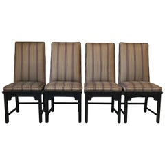 1980s Century Furniture Ming Style Black Dining Chairs, Set of Four