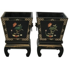 1960s Black and Gold Asian Planters on Stands with Brass Foo Dog Handles, Pair