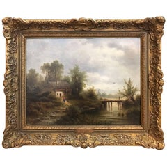 Antique Landscape Oil Painting on Board in Giltwood Frame, Signed by the Artist