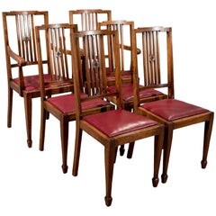 Set of Six Mahogany & Leather Dining Chairs Sheraton English Edwardian