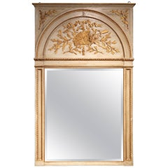 Large 19th Century French Carved Painted with Gilt Trumeau Mirror from Provence