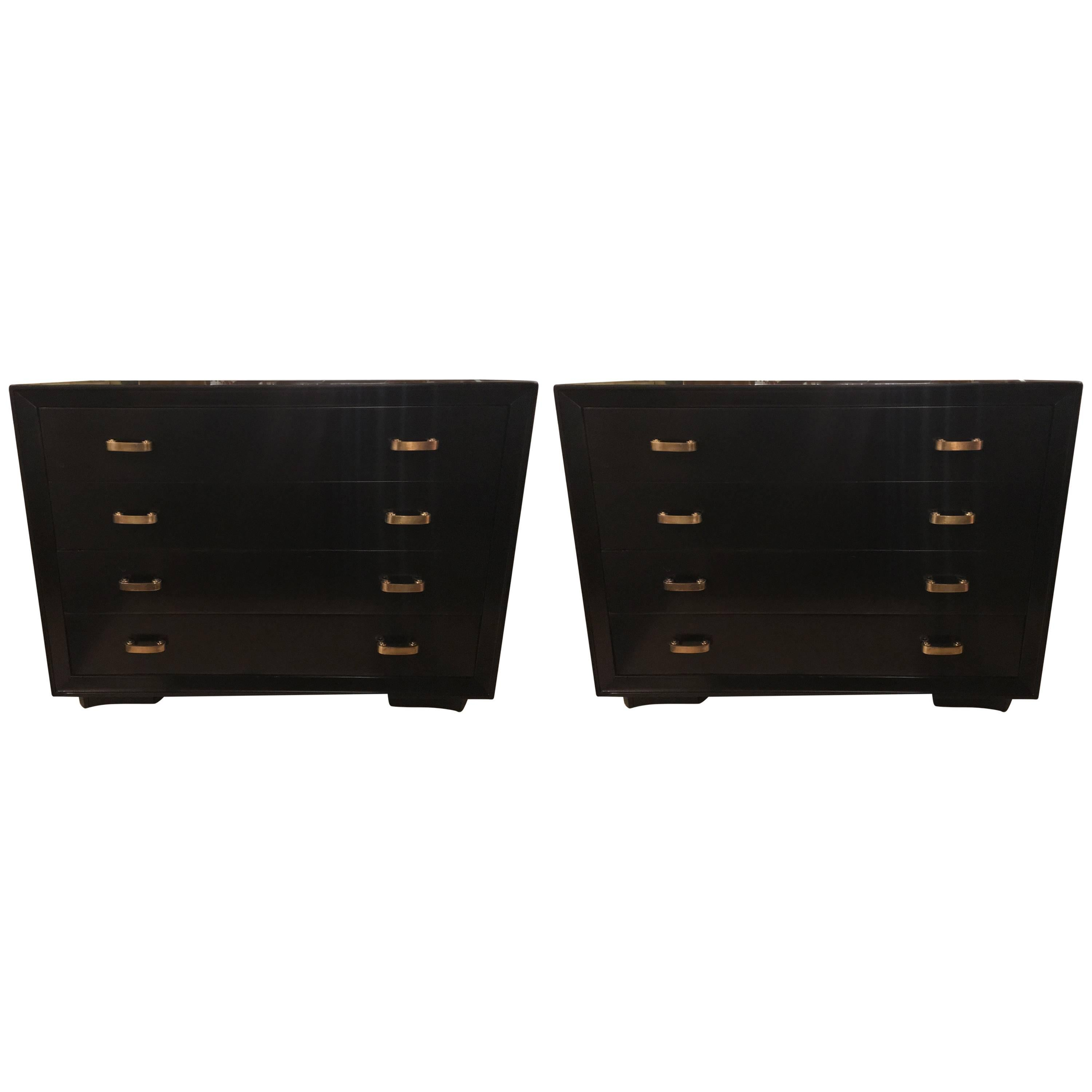 Custom Pair Of Chests / Commodes In Ebony Finish By Berkey And Gay