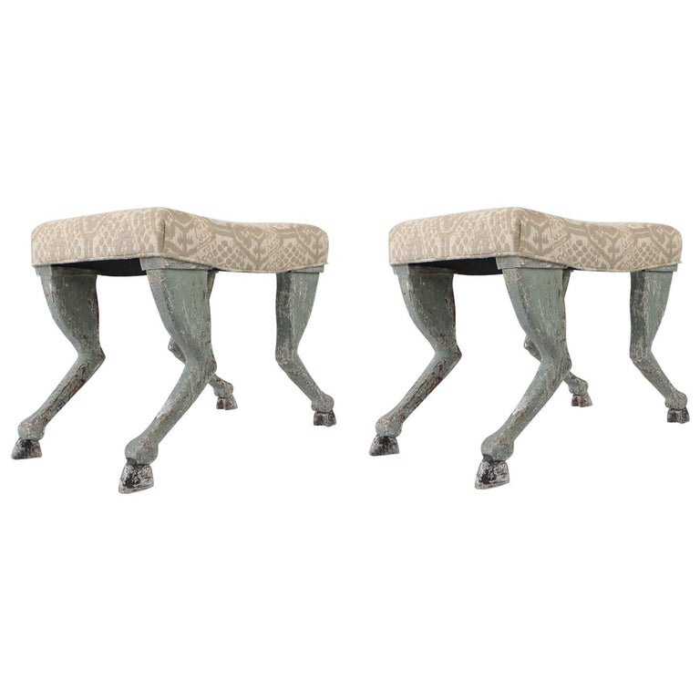 Pair of Painting Stools with Hoof Legs
