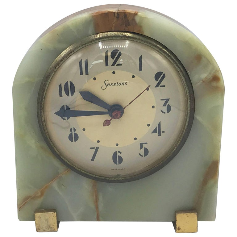 1940s Onyx Electrical Desk Clock With Brass Hardware For