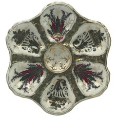 19th Century Oyster Plate with Hand-Painted Gold Details