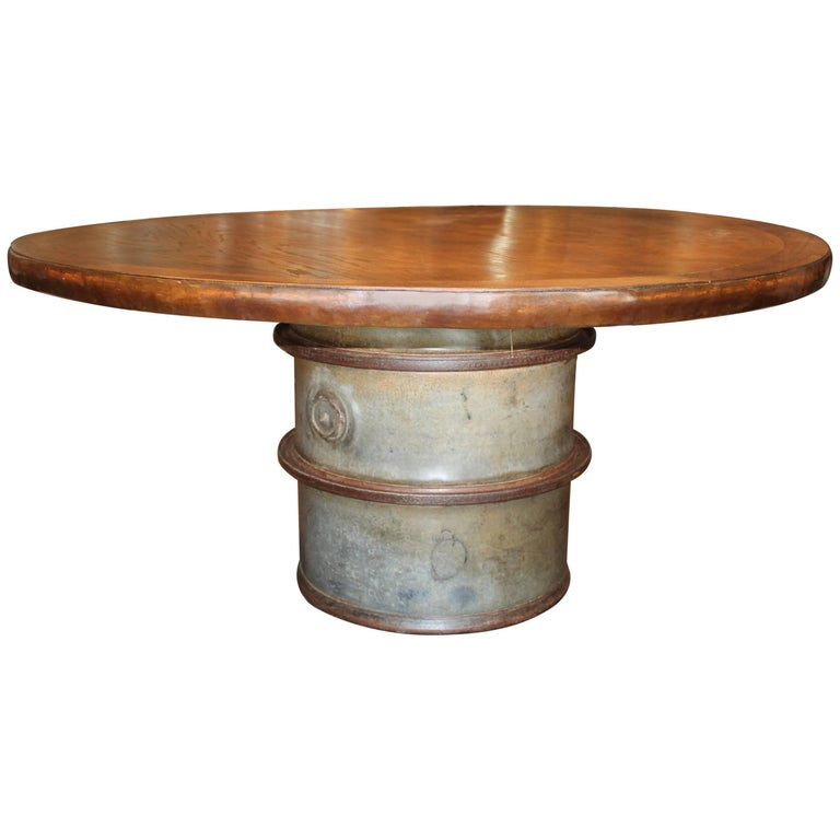 Vintage French Storage Barrel as Table Base with Iron Rimmed Wood Top