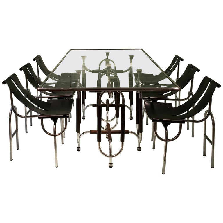 "Roberto Gabetti and Amaro Isola Dining Table, Chairs ""TRI 15"" For Sale"