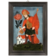 Austrian Reverse Glass Painting of Saint Florian, Patron Saint of Firefighters