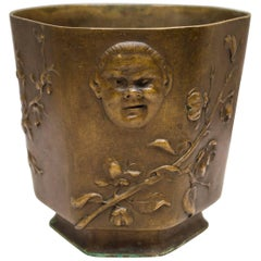 Japonesque Bronze Cache Pot by Berndorf, Austria, circa 1890