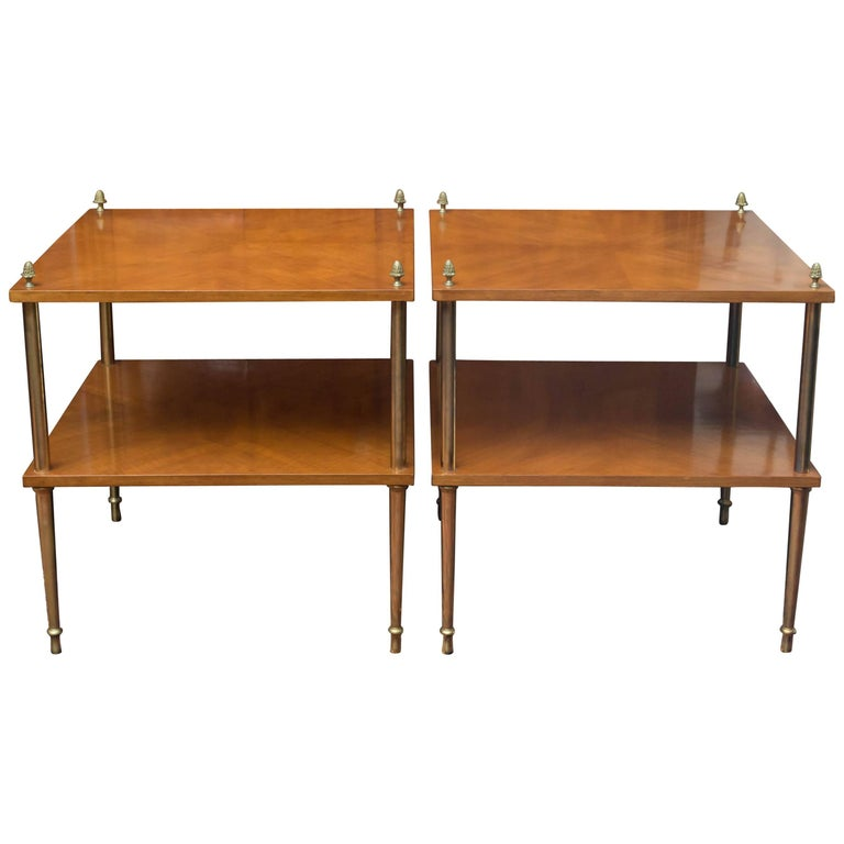 Pair of Mid-20th Century Walnut and Brass Side Tables in Maison Jansen Style