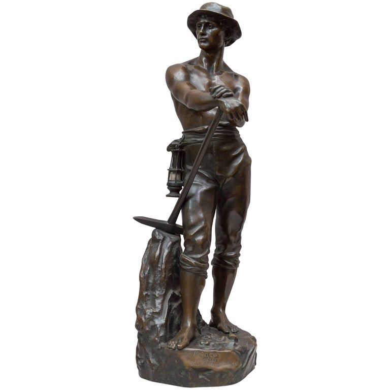 Bronze Figure of a Miner For Sale