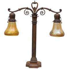 Bronze and Art Glass Two-Arm Desk Lamp