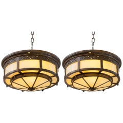 Pair of High Quality Bronze and Glass Flush Mount Chandeliers
