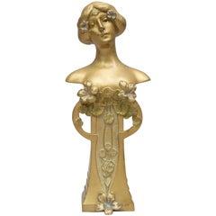 Art Nouveau/ Vienna Secessionist Gilt Bronze Bust, Charles Korschann