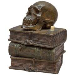 Vienna Bronze Skull on Books, Bell Push