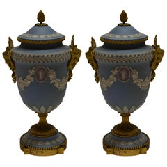 Pair of Antique Wedgwood Urns with Covers