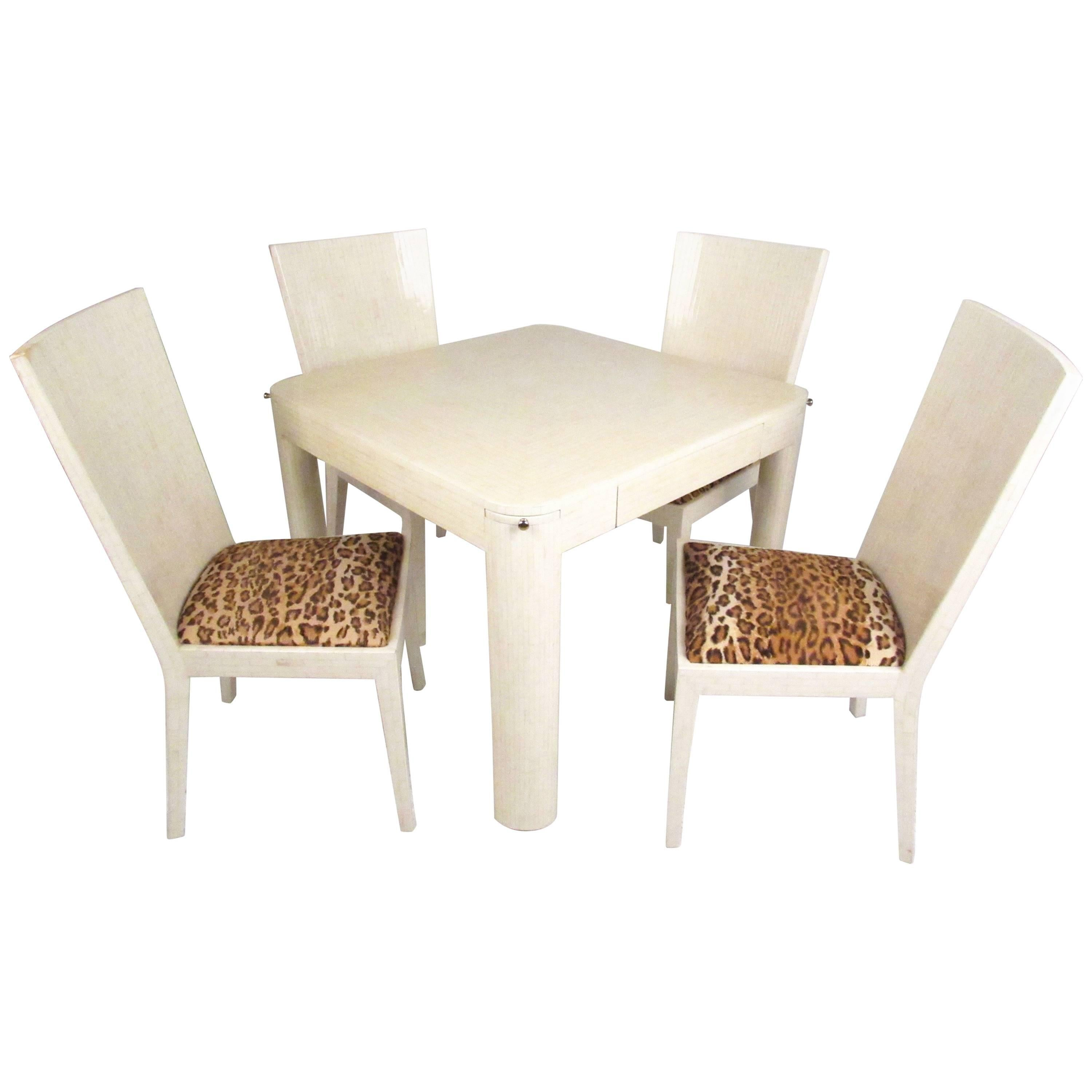 Enrique Garcel Tessellated Bone Card Table with Chairs