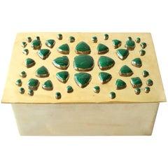 Brass Box with Cabachon Malachite Stones