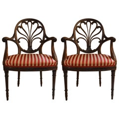 Pair of Antique English Oval Back Mahogany Armchairs