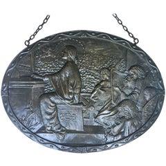 19th Century Relief Bronze Masterpiece with Cherubs in a Barrel-Organ