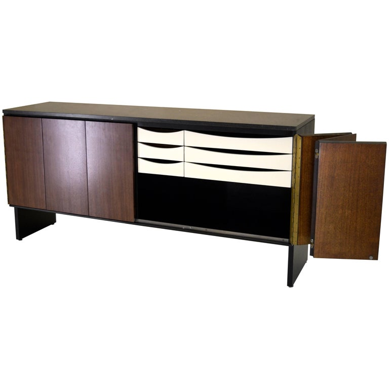 Custom Granite Sideboard by Paul McCobb for Calvin in Walnut and Black Lacquer