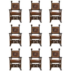 Set of Nine Antique Early 19th Century Oak and Leather Renaissance Chairs