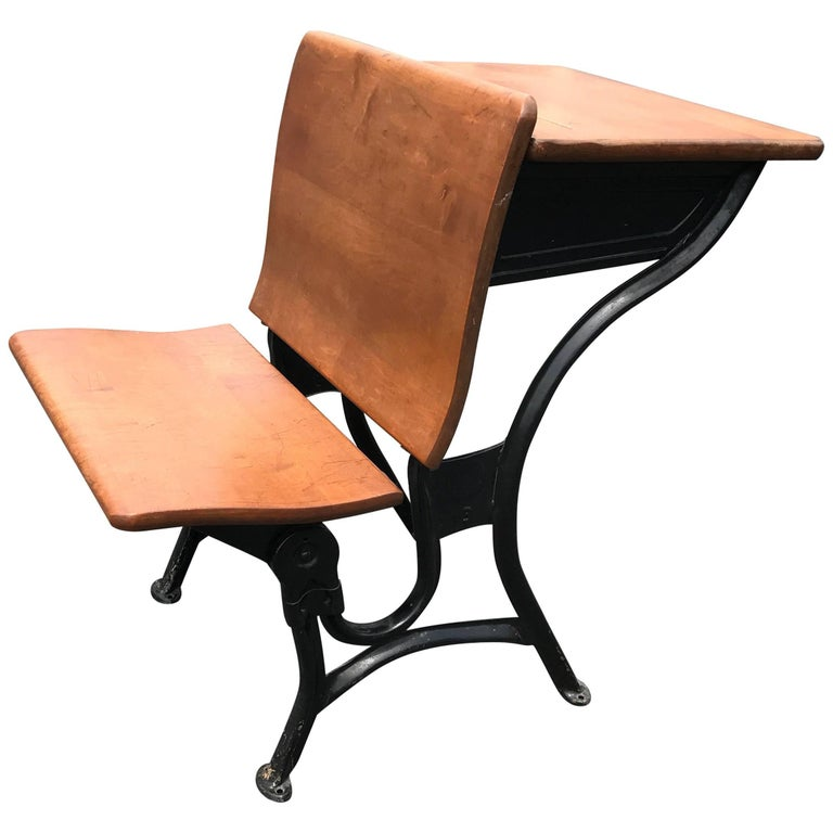 1920s english oak school desk with mounted chair for sale at 1stdibs. Black Bedroom Furniture Sets. Home Design Ideas