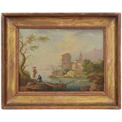 French Oil on Canvas, Lake Scene with Fishermen and Ruins
