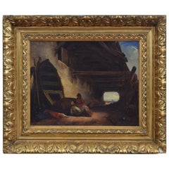 Continental Oil on Canvas of Two Figures Relaxing under an Eaves, circa 1855