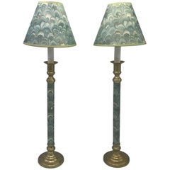 1950s Blue-Green Candlestick Lamps with Matching Water-Print Shades, Pair