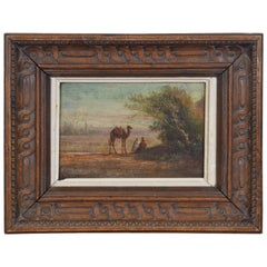 Oil on Wooden Panel in the Orientalist Style, Carved Wooden Frame