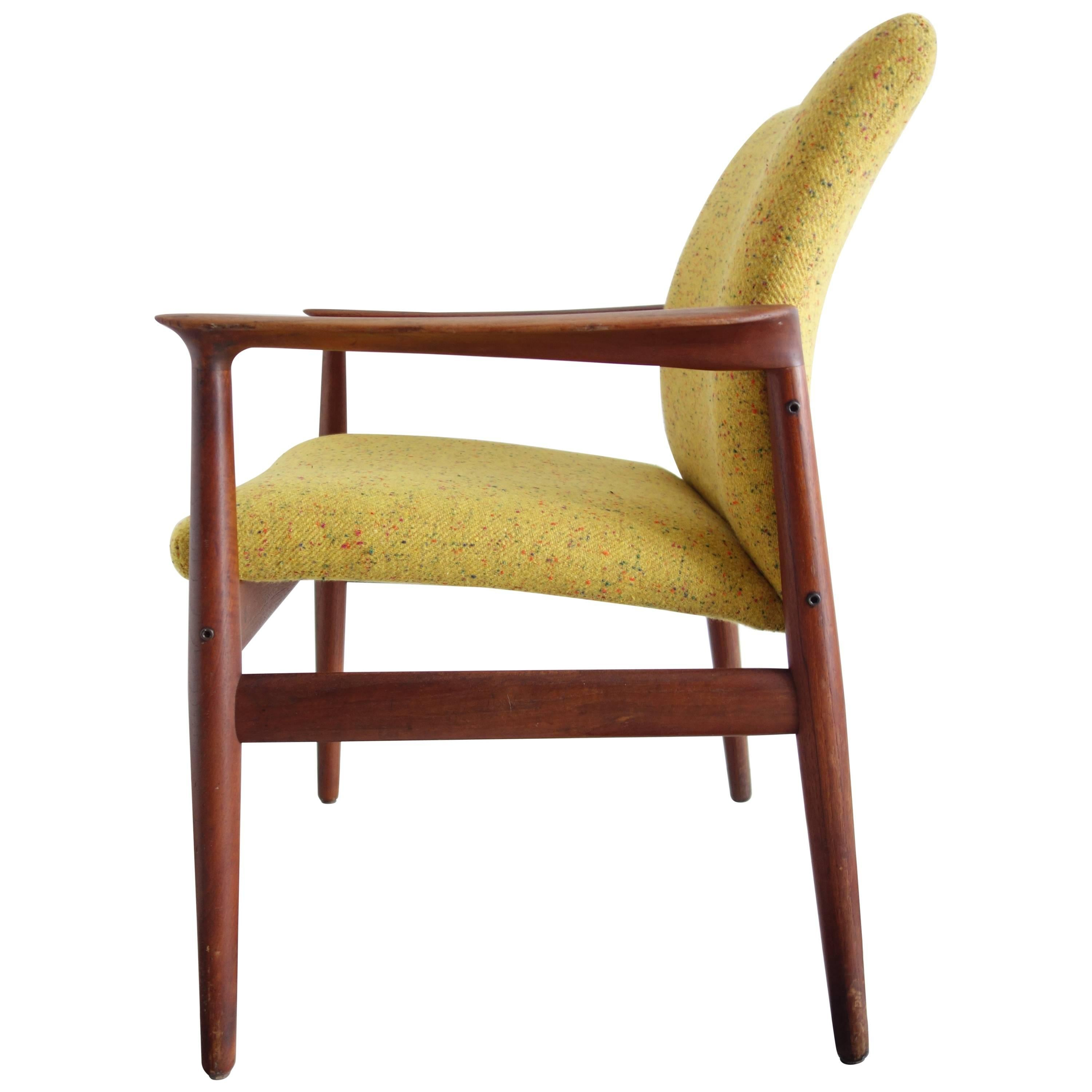 Grete Jalk Danish Teak Chair Yellow Upholstery Producer Glostrup