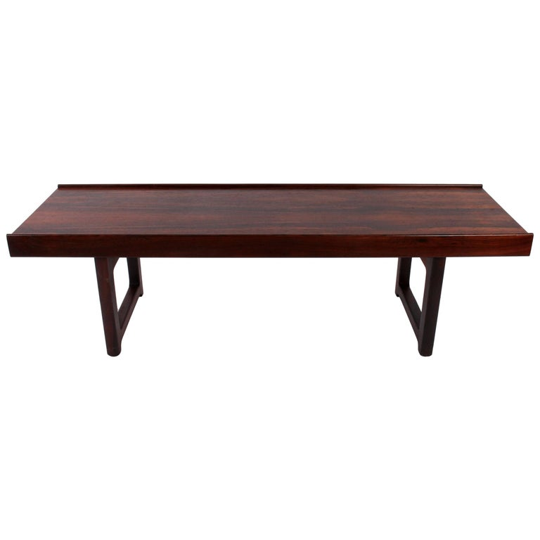Torbjorn Afdal for Bruksbo Norway Solid Rosewood Short Krobo Bench, Coffee Table