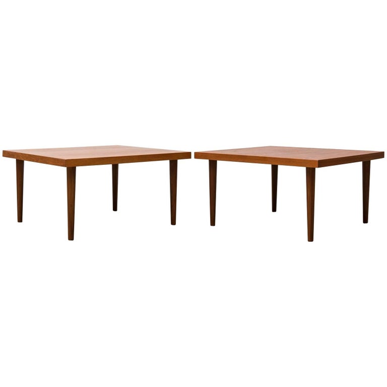 Handsome Pair of Square Teak Side or Coffee Tables 1