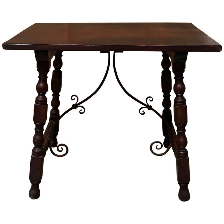 Early 20th Century Spanish Side Table with Forged Iron