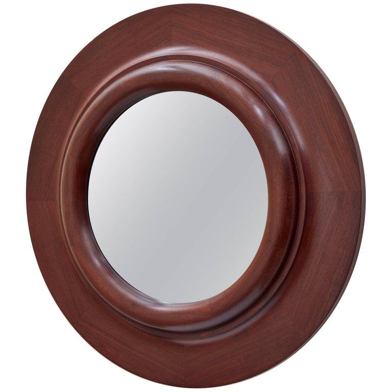 Doric Column Circular Wood Wall Mirror by Bark Frameworks For Sale