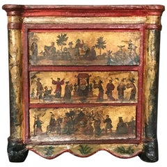 Large Rare Lacca Povera Chinoiserie Jewelry Box