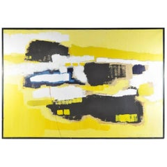 Louise S. Bradley Yellow and Black Abstract Painting, 1966