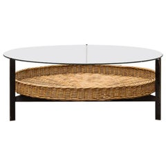 Modernist Two-Tiered Round Coffee Table with Rattan Basket