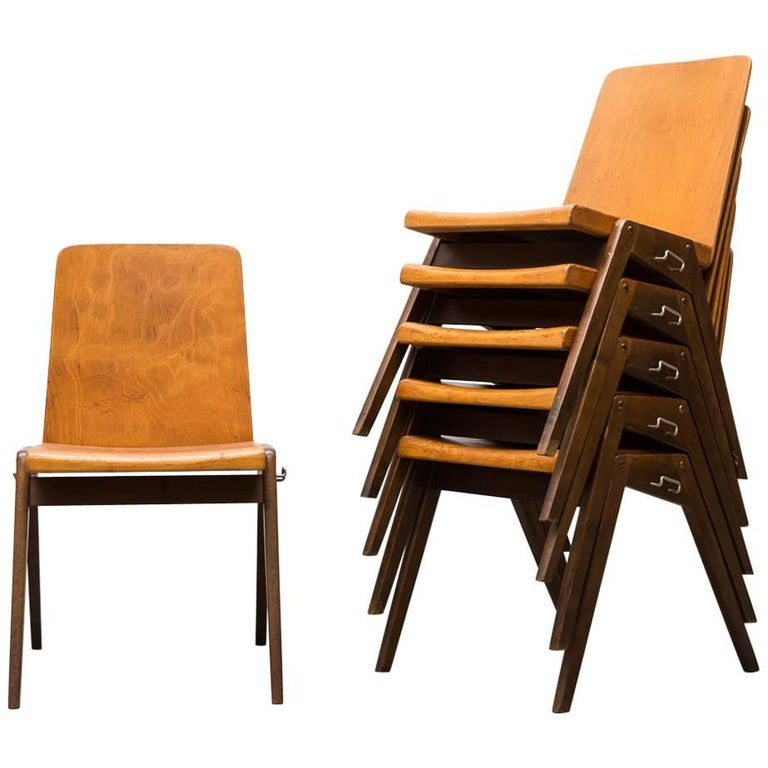 Stacking Roland Rainer Style Two-Toned Stacking School Chairs For Sale