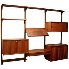 Vintage Mid-Century Modern Mounted Shelving Wall Unit Cado / Nelson Style