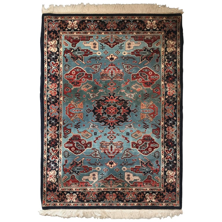1930s Turkish Red White And Blue Hali Rug With Fringe For