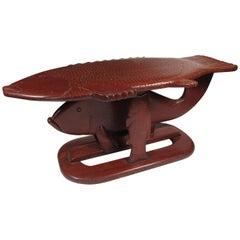 Vintage Folk Art Carved Wood Fish Form Coffee Table